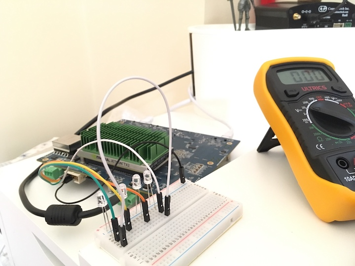 A simple circuit with 4 leds powered using GPIO pin module on cogwell