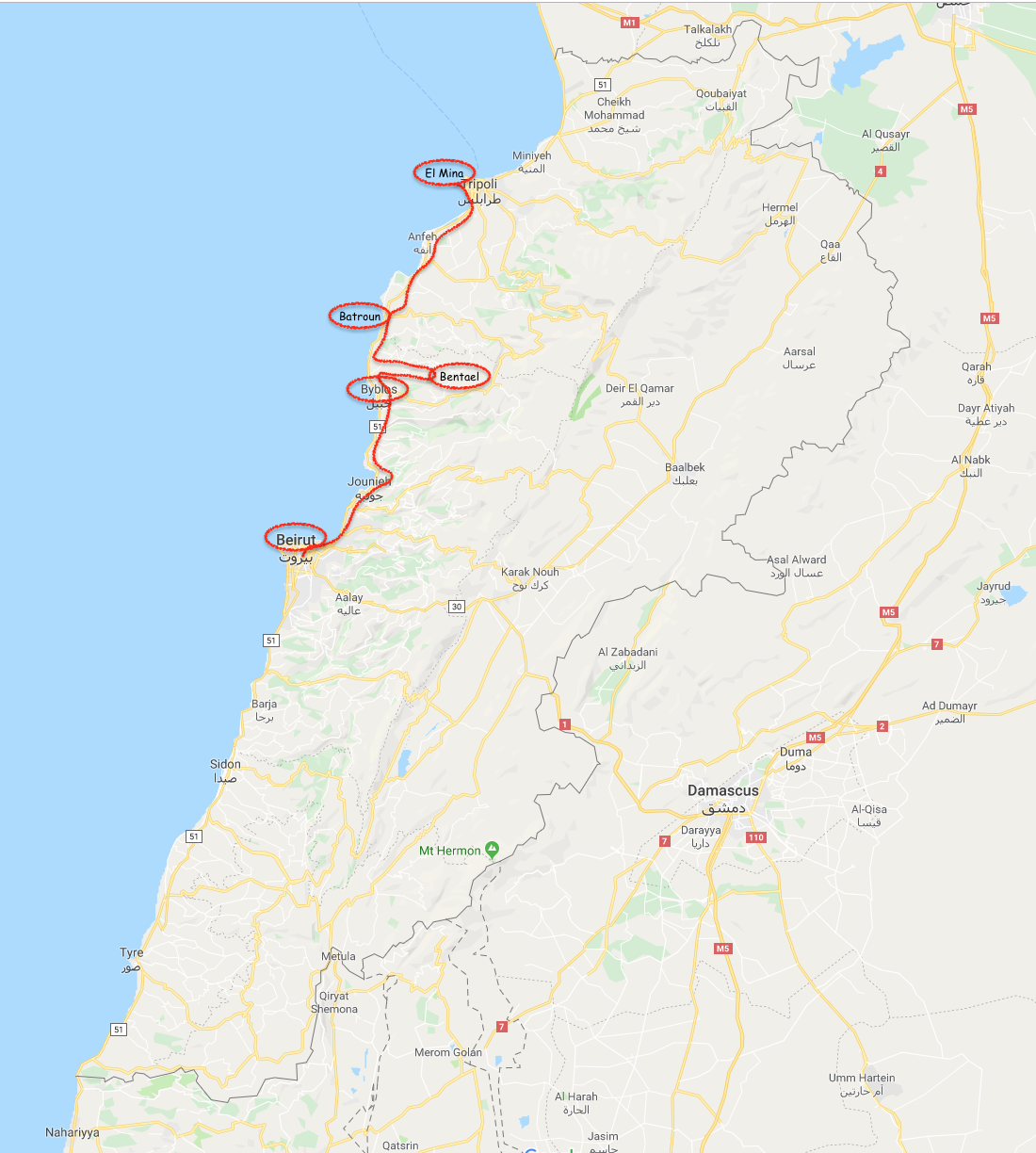 Beirut to Tripoli Map