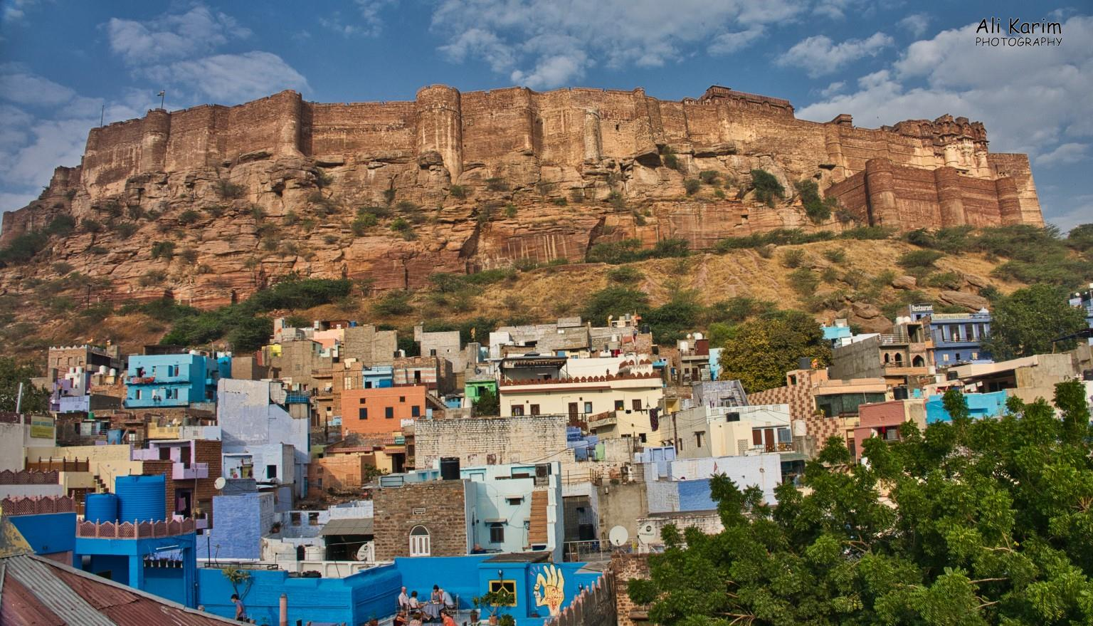 "Jodhpur, Rajasthan View of Mehranghar Fort from our B&B rooftop at breakfast. Note the multiple ""blue"" colored buildings. Jodhpur is known as the Blue City"