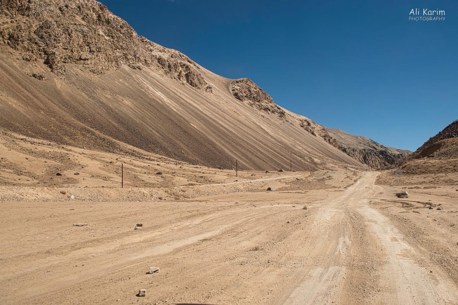 Langar, Tajikistan, Road from Bulunkul back to the Pamir highway; unused electricity/telephone poles still standing