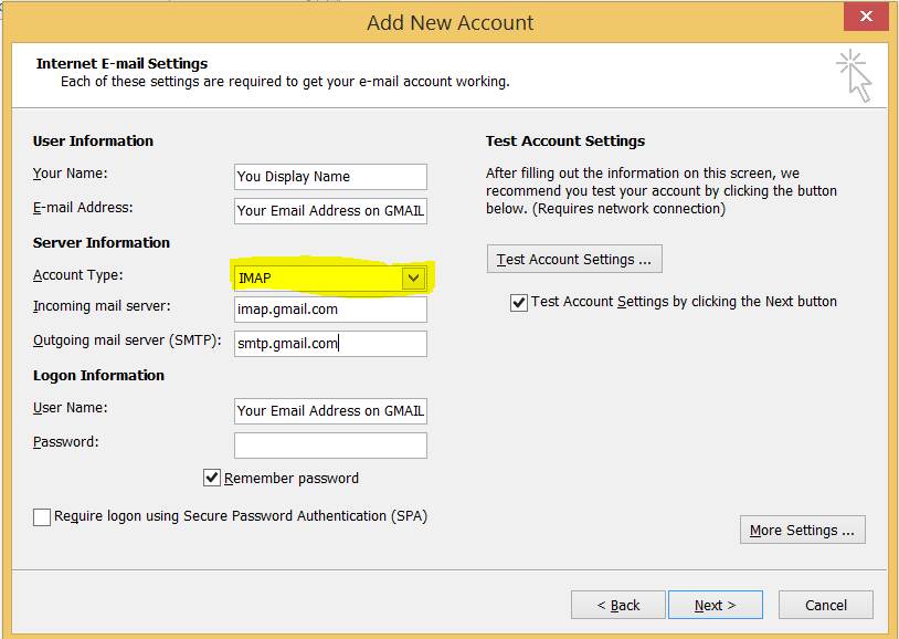 Following information to setup Gmail in Outlook.
