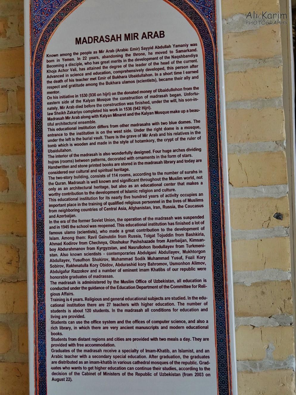 Bukhara, Oct 2019, Very interesting write-up of the Mir Arab Madrassah