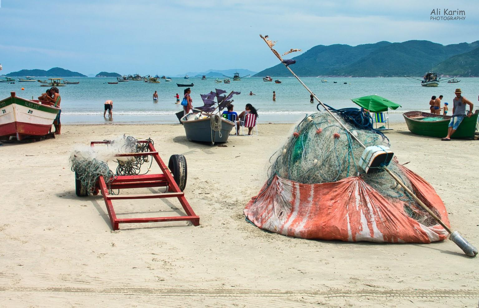 Florianópolis, Brazil Pantano do Sul local beach with lots of fishing boats