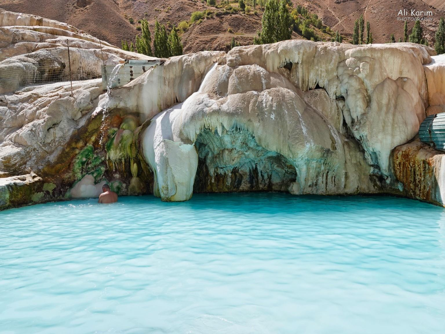 Onto Khorog, Tajikistan, Natural hot springs pool at Garam Chasma