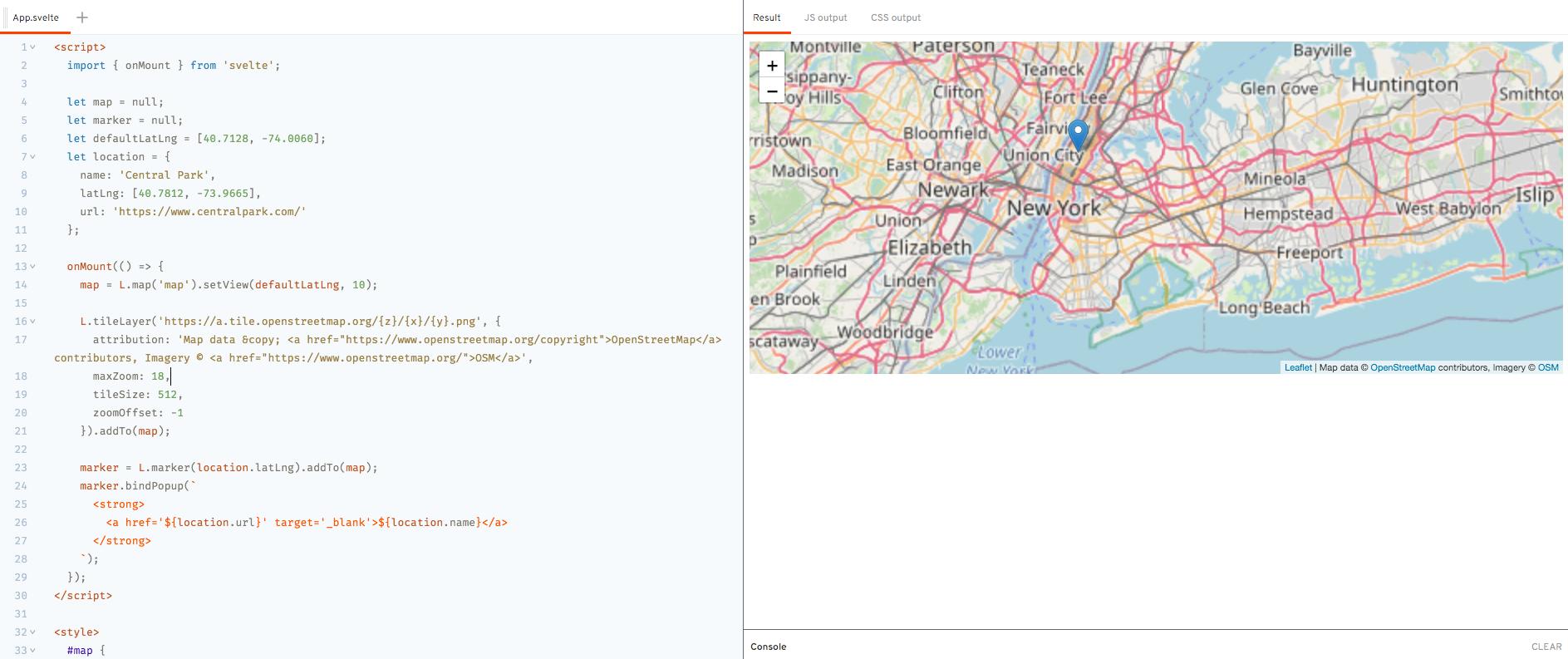 Demo - `onMount` Lifecycle Method - Leaflet Map