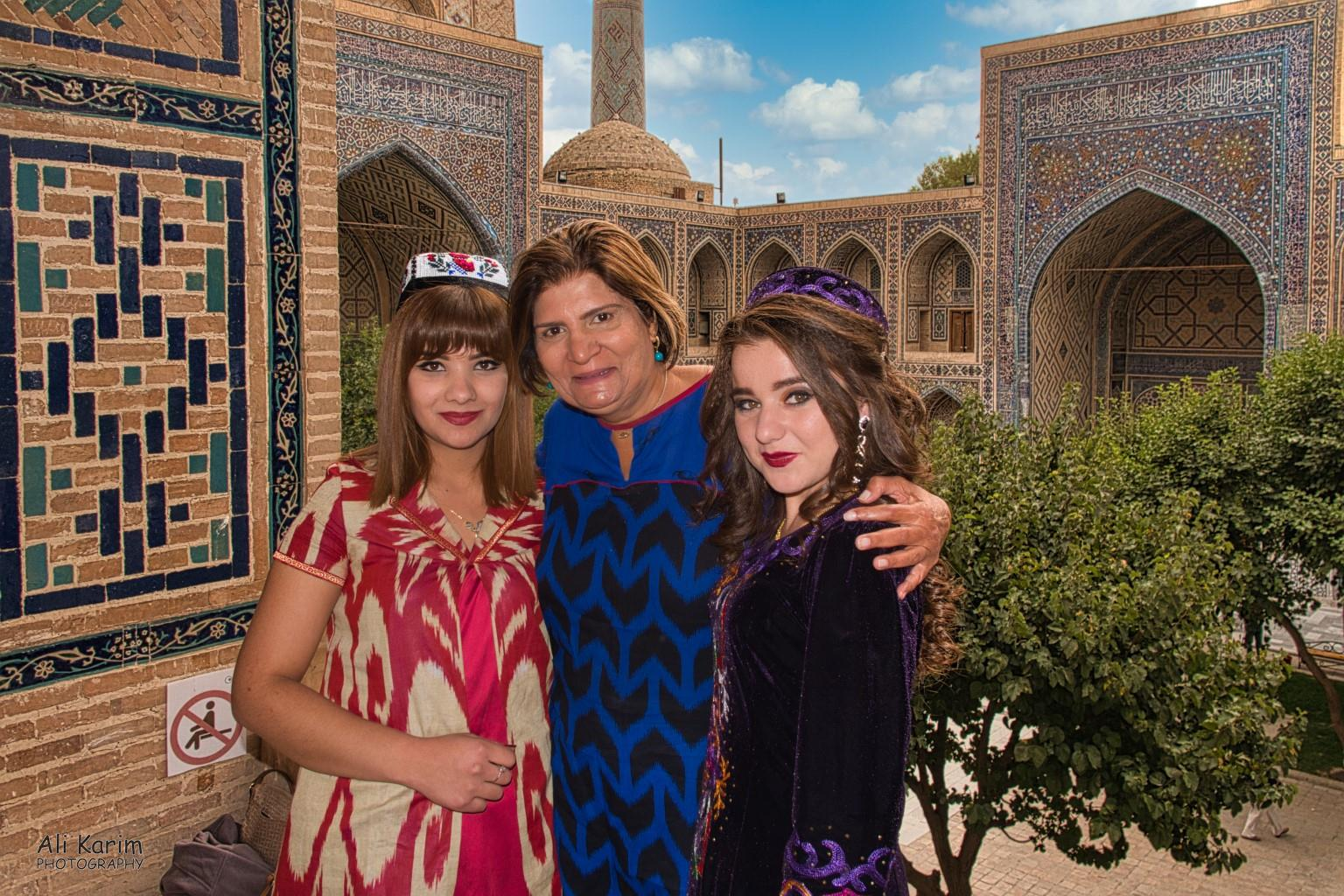 More Samarkand, Friendly local tourists who had come to the Registan to take pre-wedding photos for the lady on the left