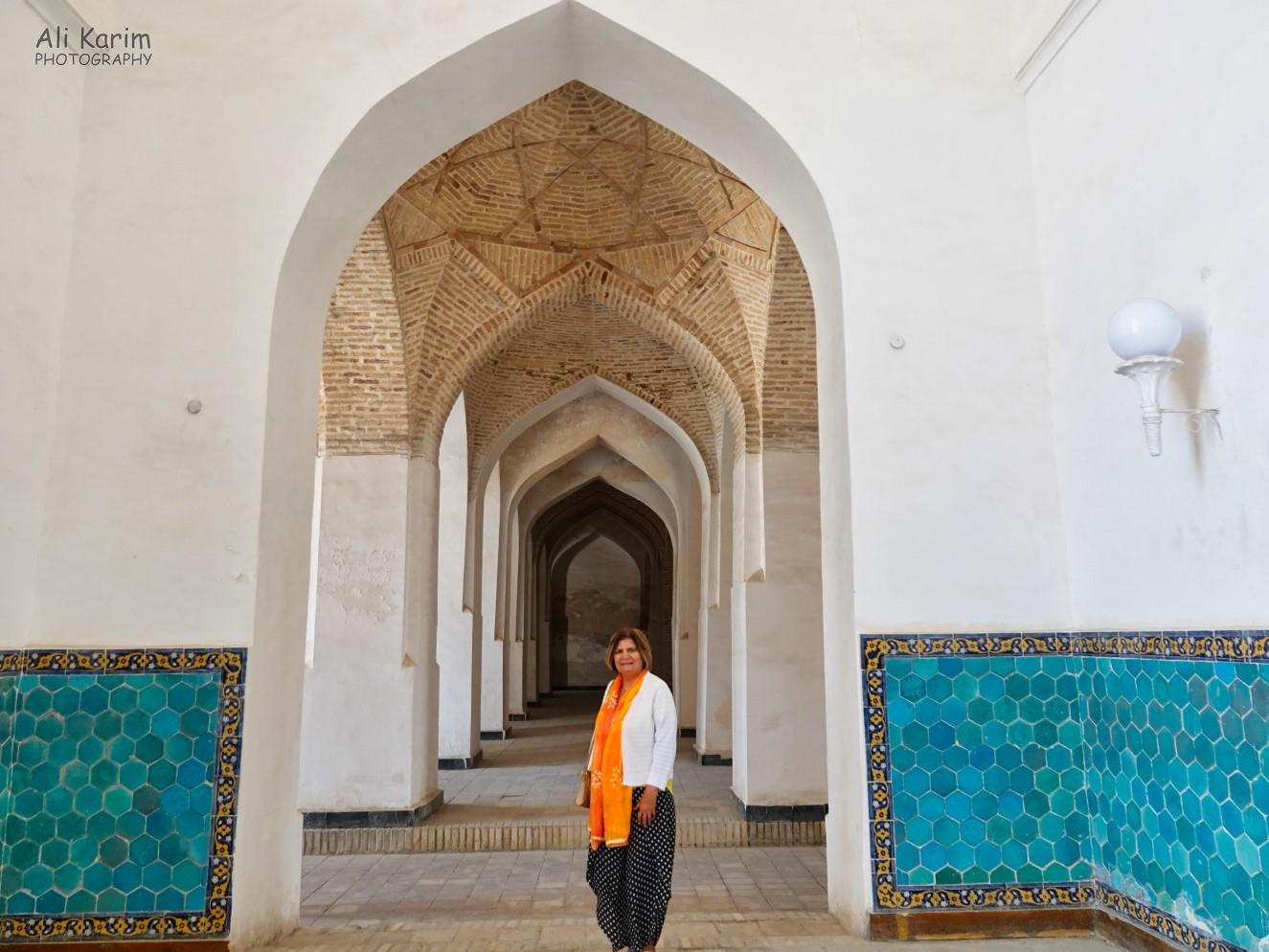 Bukhara, Oct 2019, The sides of the mosque were long covered corridors with beautiful brick and tile work