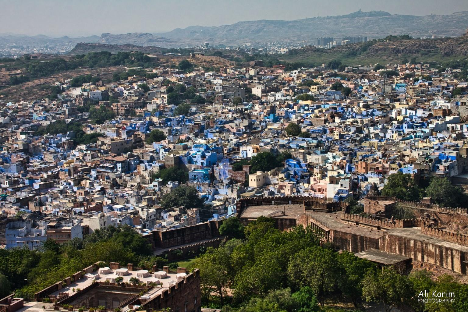 Jodhpur, Rajasthan Good view of the Old Blue City of Jodhpur from the Fort, and a view of the newer city of Jodhpur in the background