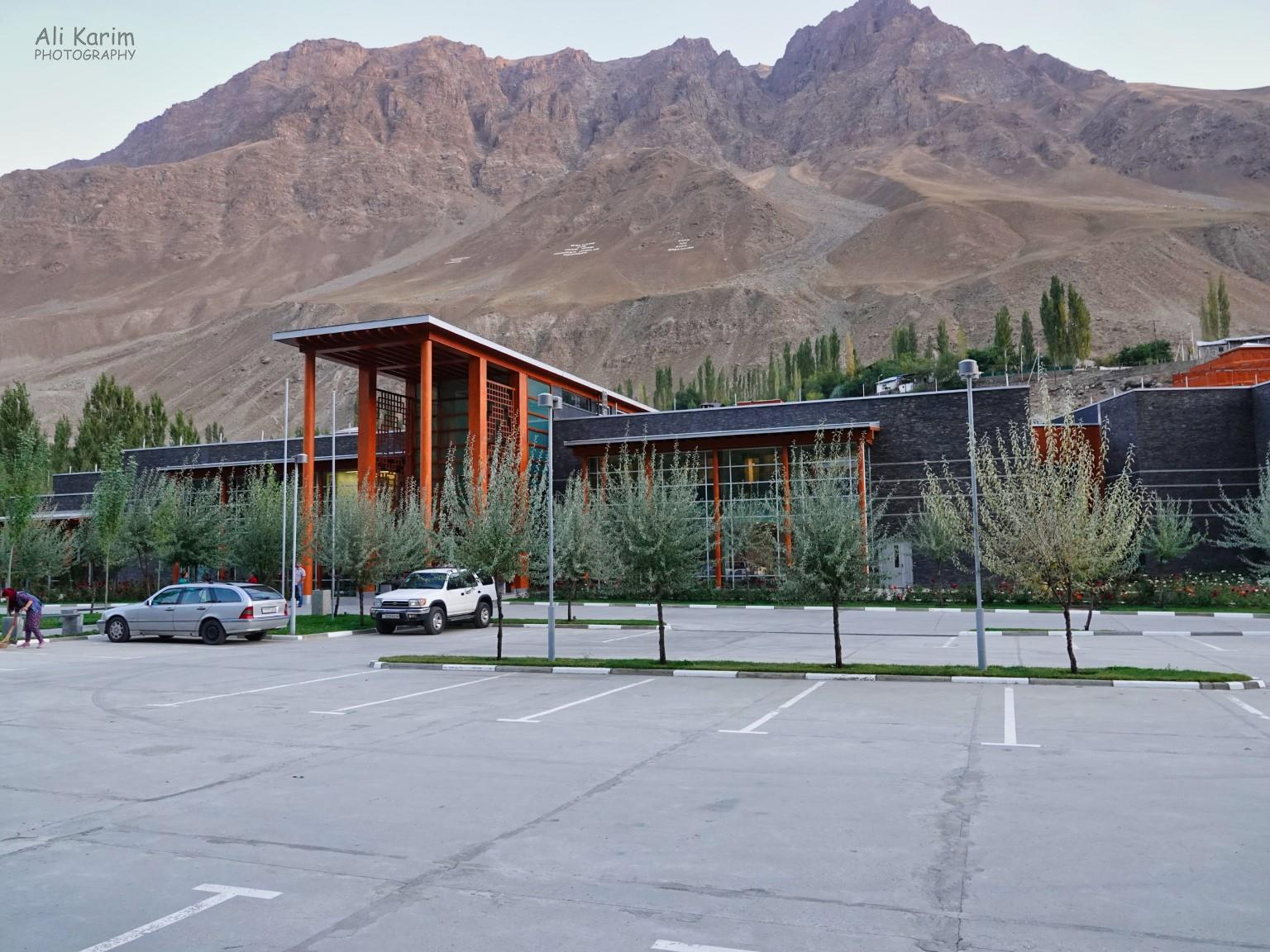 More Khorog, Tajikistan Parking lot and main entrance to the Ismaili Center