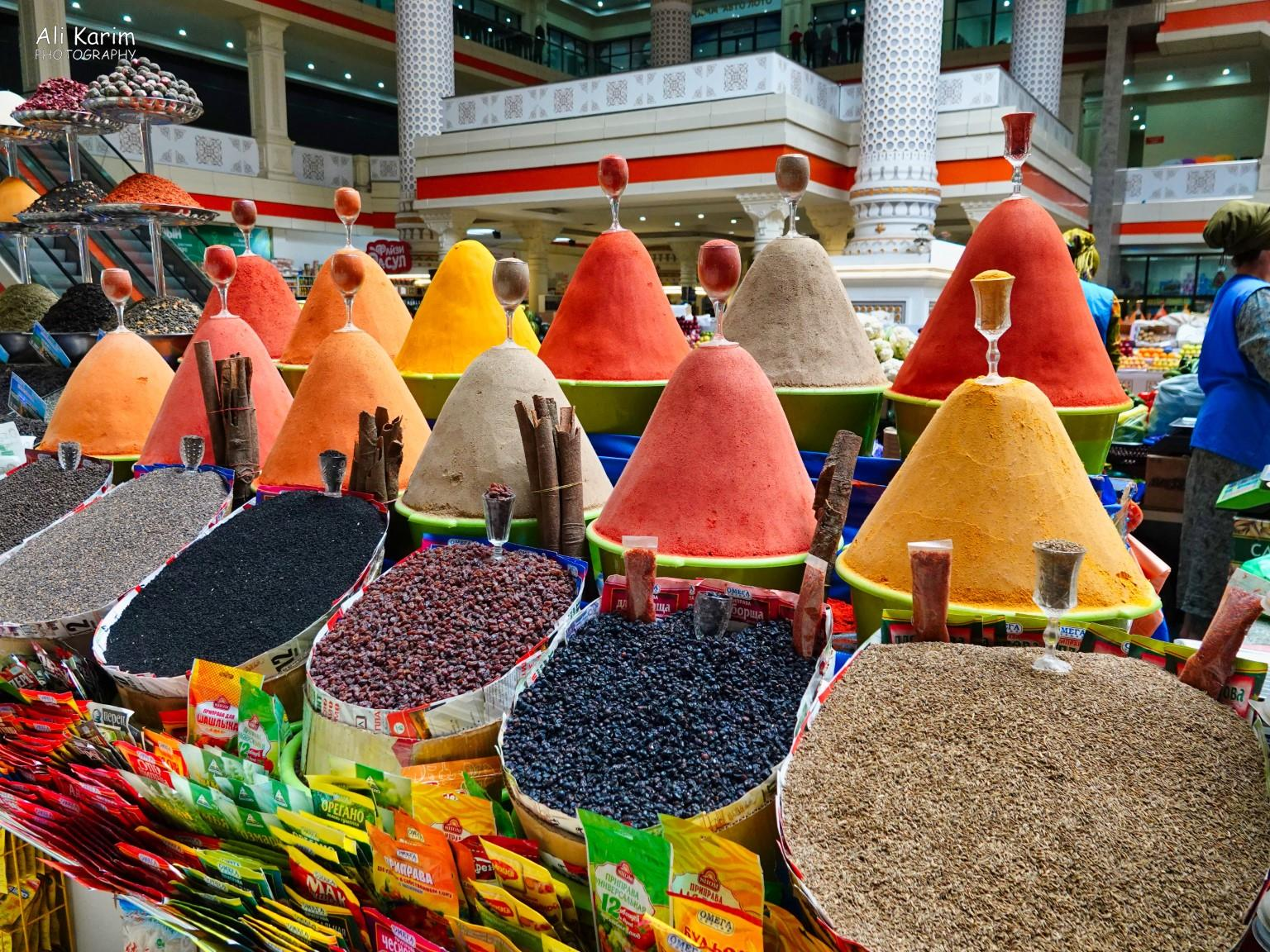 More Dushanbe, Tajikistan Spices neatly piled up in Mergon market