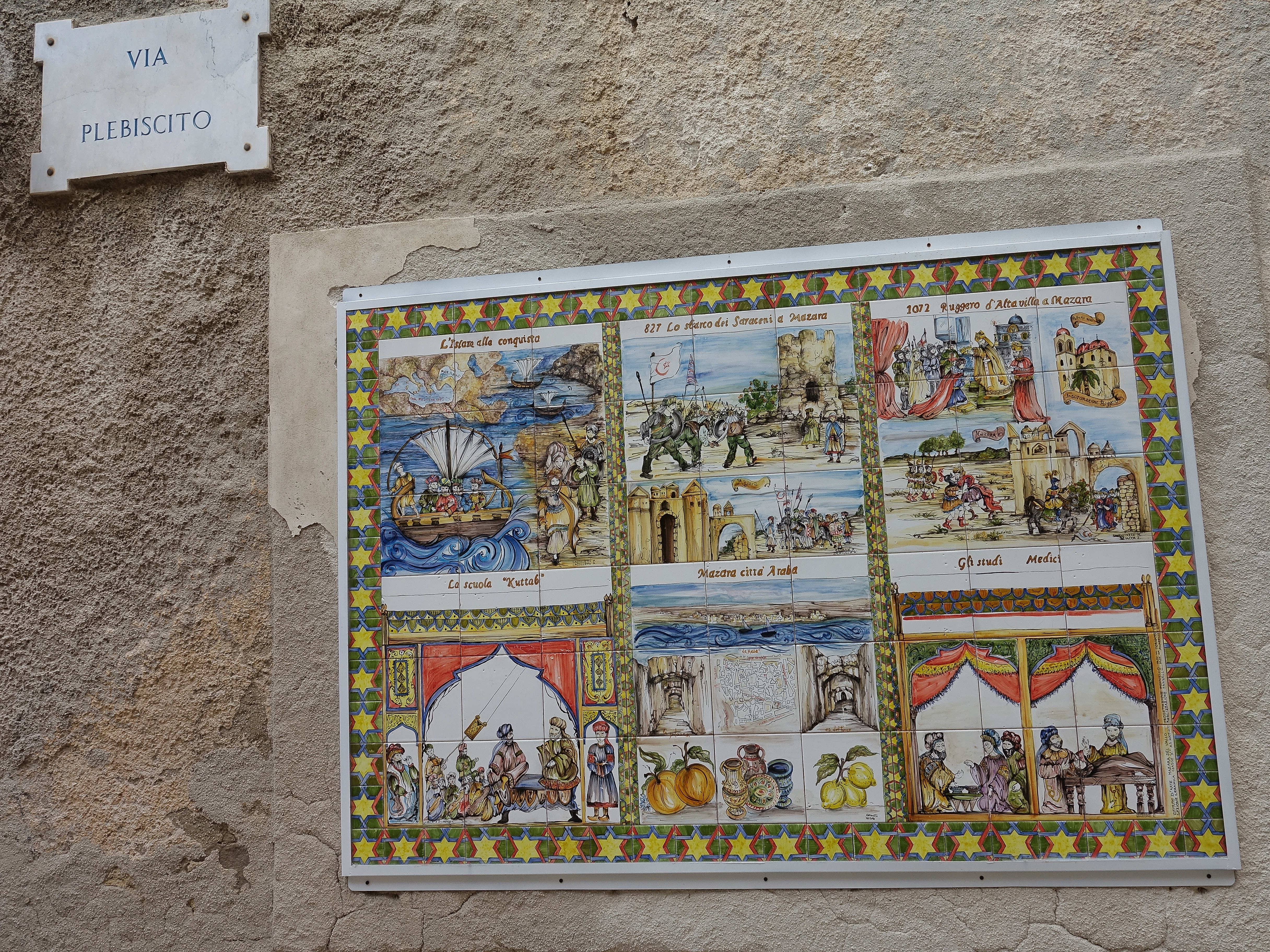 Old town tilework showing the Arabic conquest and Muslim influence