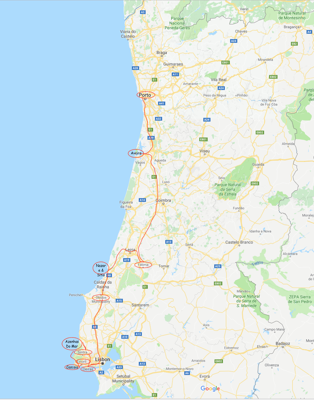 West of Lisbon Full Portugal trip map