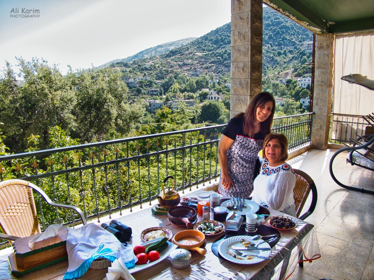 Bekaa Valley Winery, Chouf Mountains & the Druze Fadia and breakfast on the terrace overlooking the Chouf Mountains