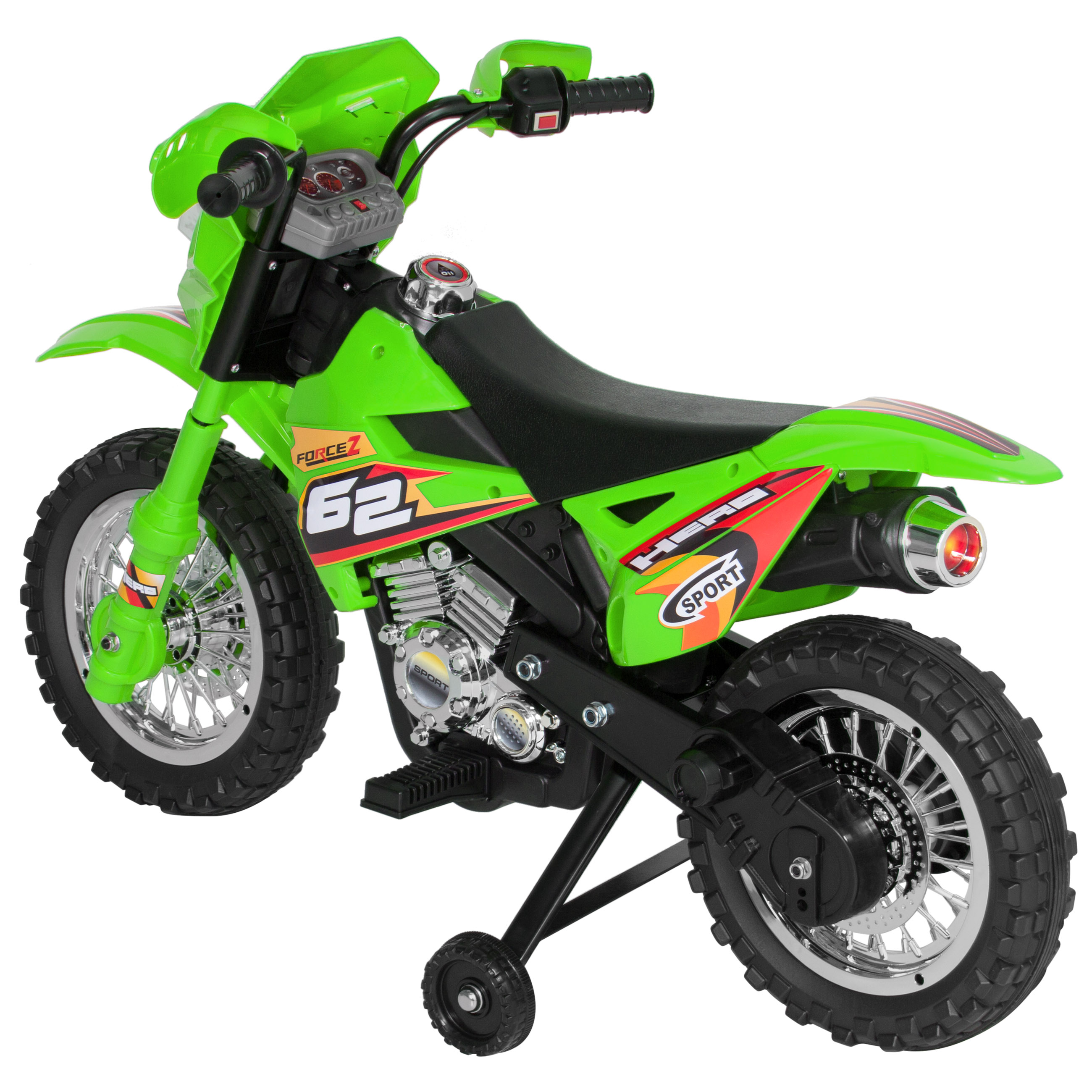 6v electric kids ride on motorcycle dirt bike w training. Black Bedroom Furniture Sets. Home Design Ideas