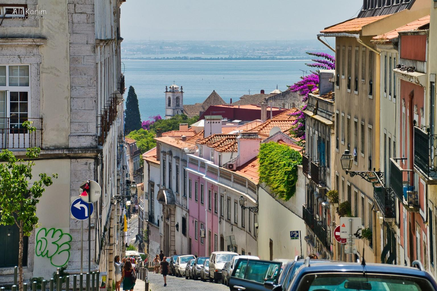 Lisbon Portugal: Street view leading to the water