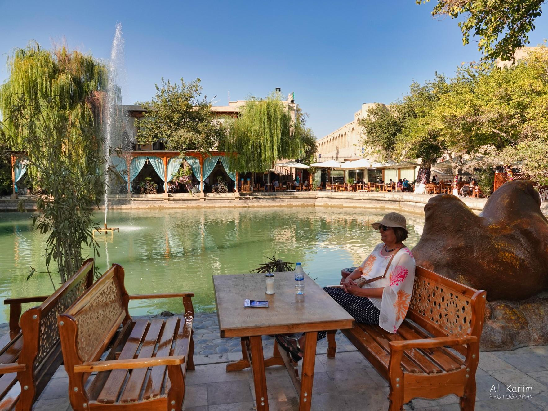 Bukhara, Oct 2019, Chilling at the Main square outside our hotel; lively restaurant with nightly music in the back