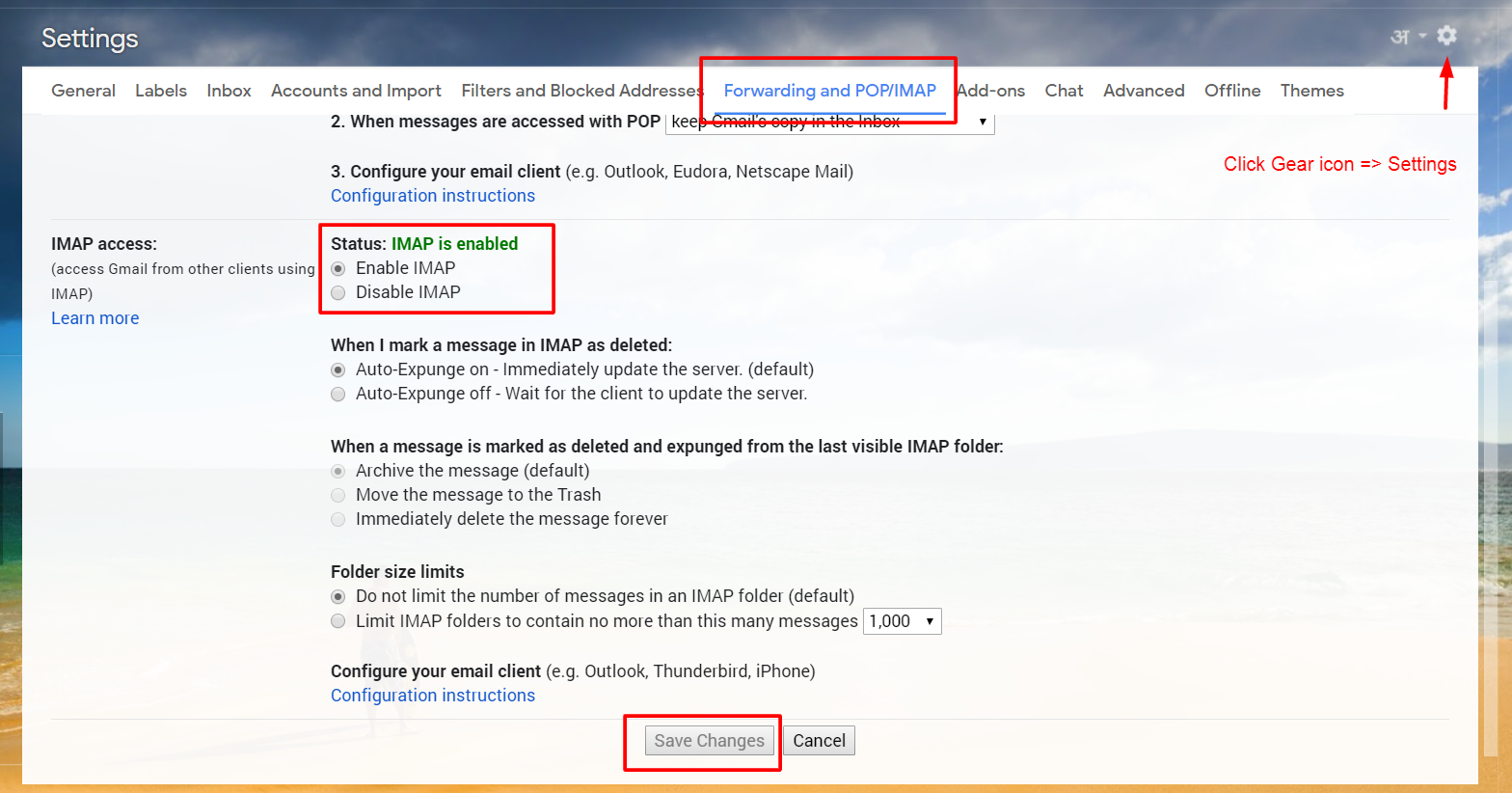 Change the POP/IMAP Settings to Configure Gmail in Outlook