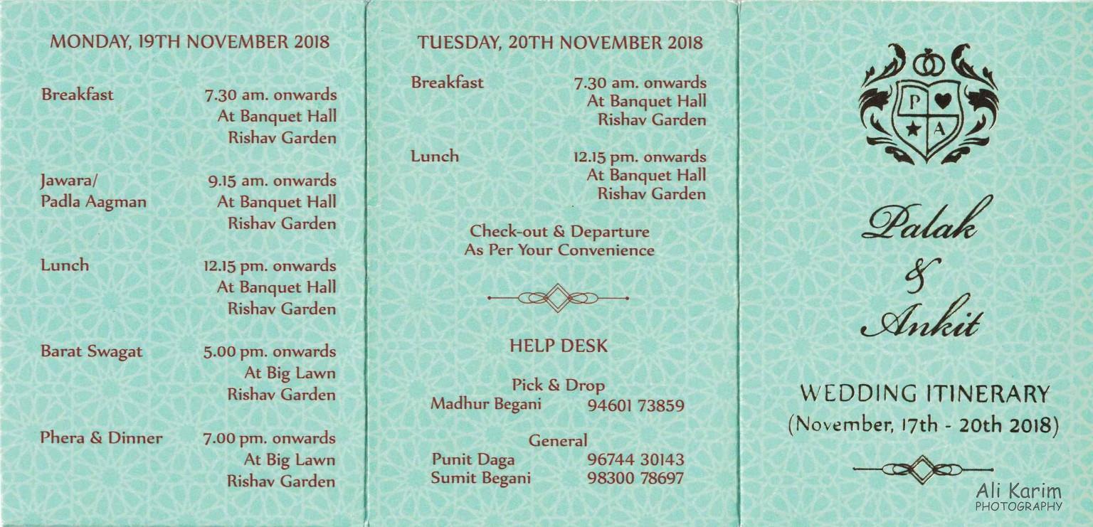 Bikaner, Rajasthan Schedule of Wedding events