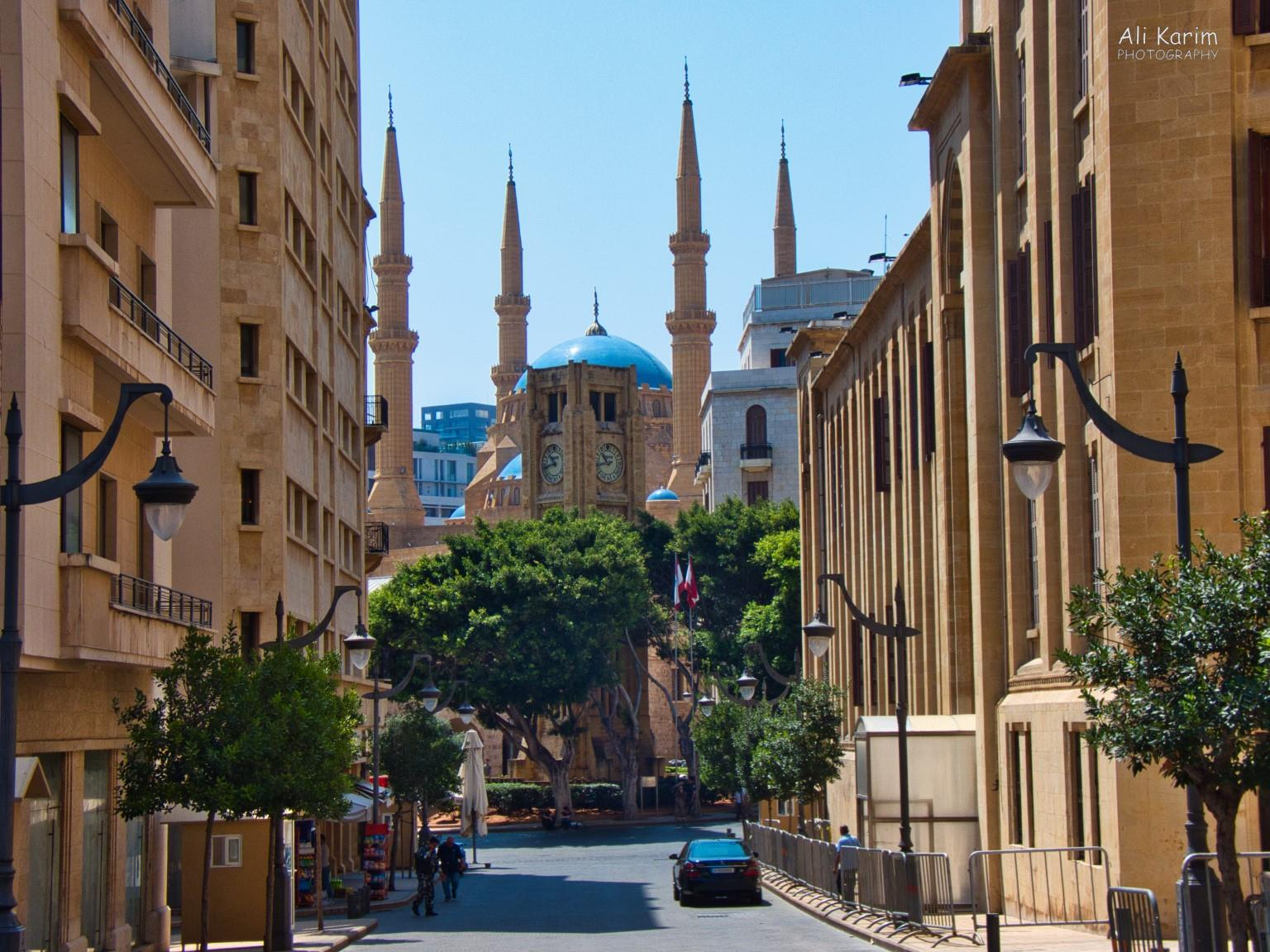 Beirut View of Nijmeh square (clock tower), with St Georges Greek Orthodox church behind and the Parliament buildings on the right