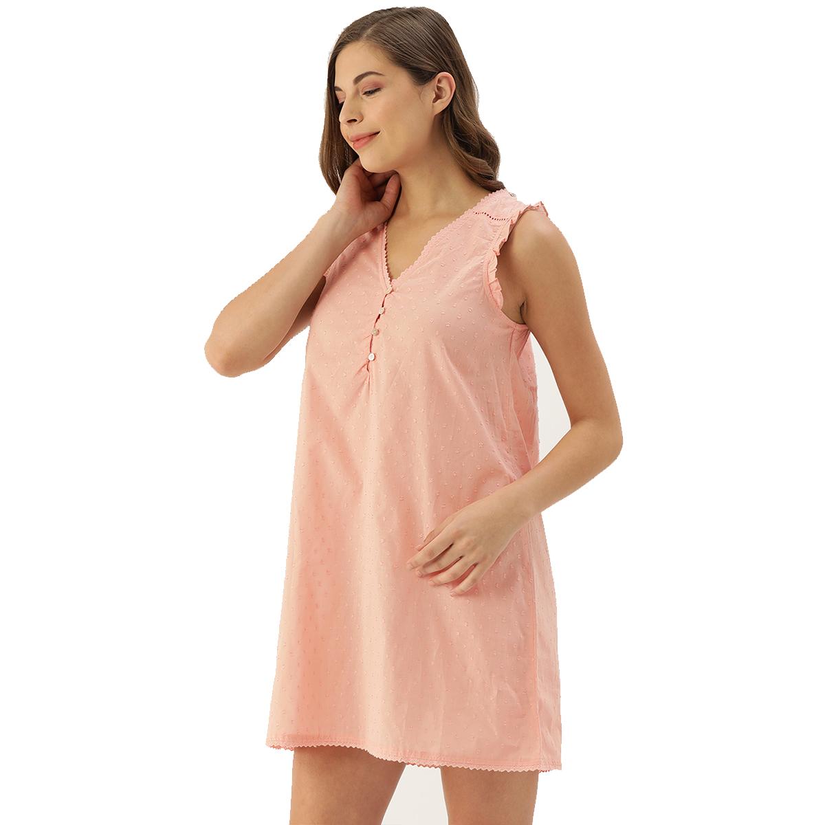 Slumber Jill Caira Rose Pink Dobby Self Design Night Dress with Straps