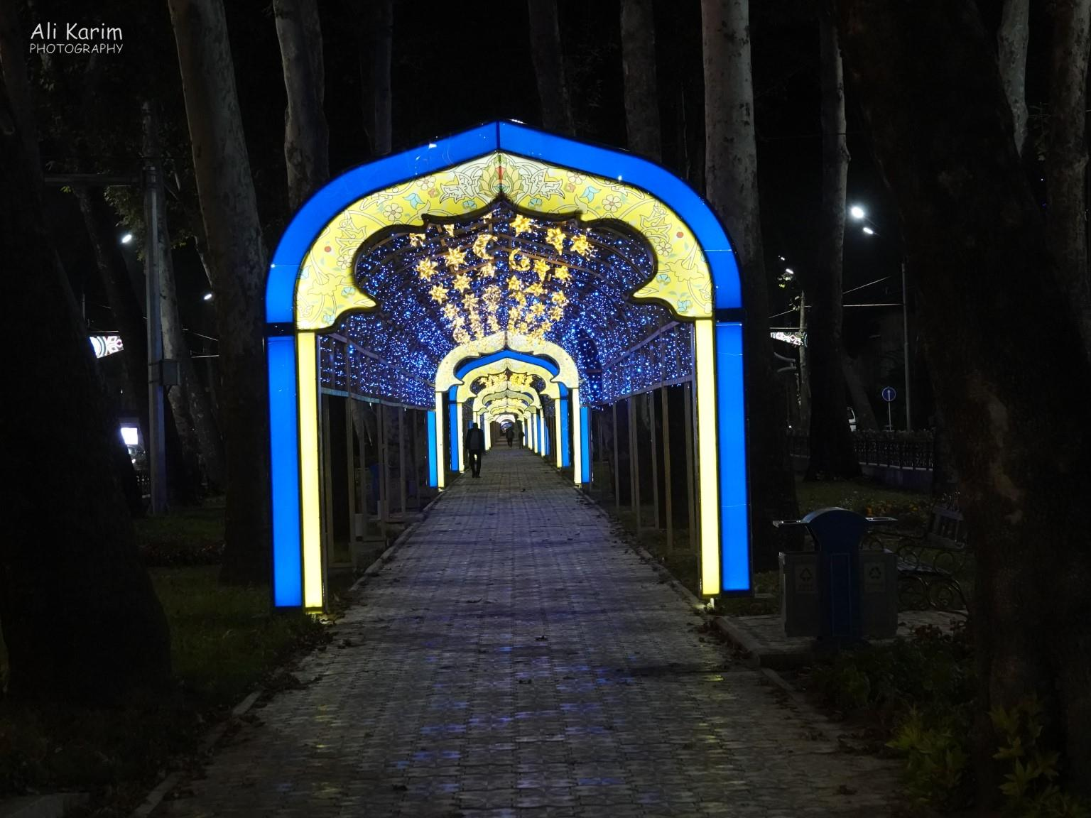 Dushanbe, Tajikistan Another well-lit and unusual pathway in another park