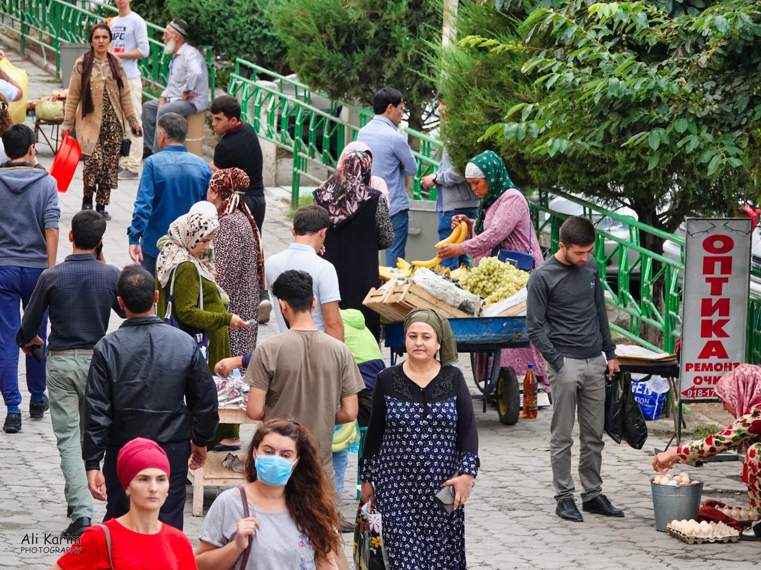 More Dushanbe, Tajikistan Bananas were imported from Equador. And face masks were uncommon as this was pre-Covid time
