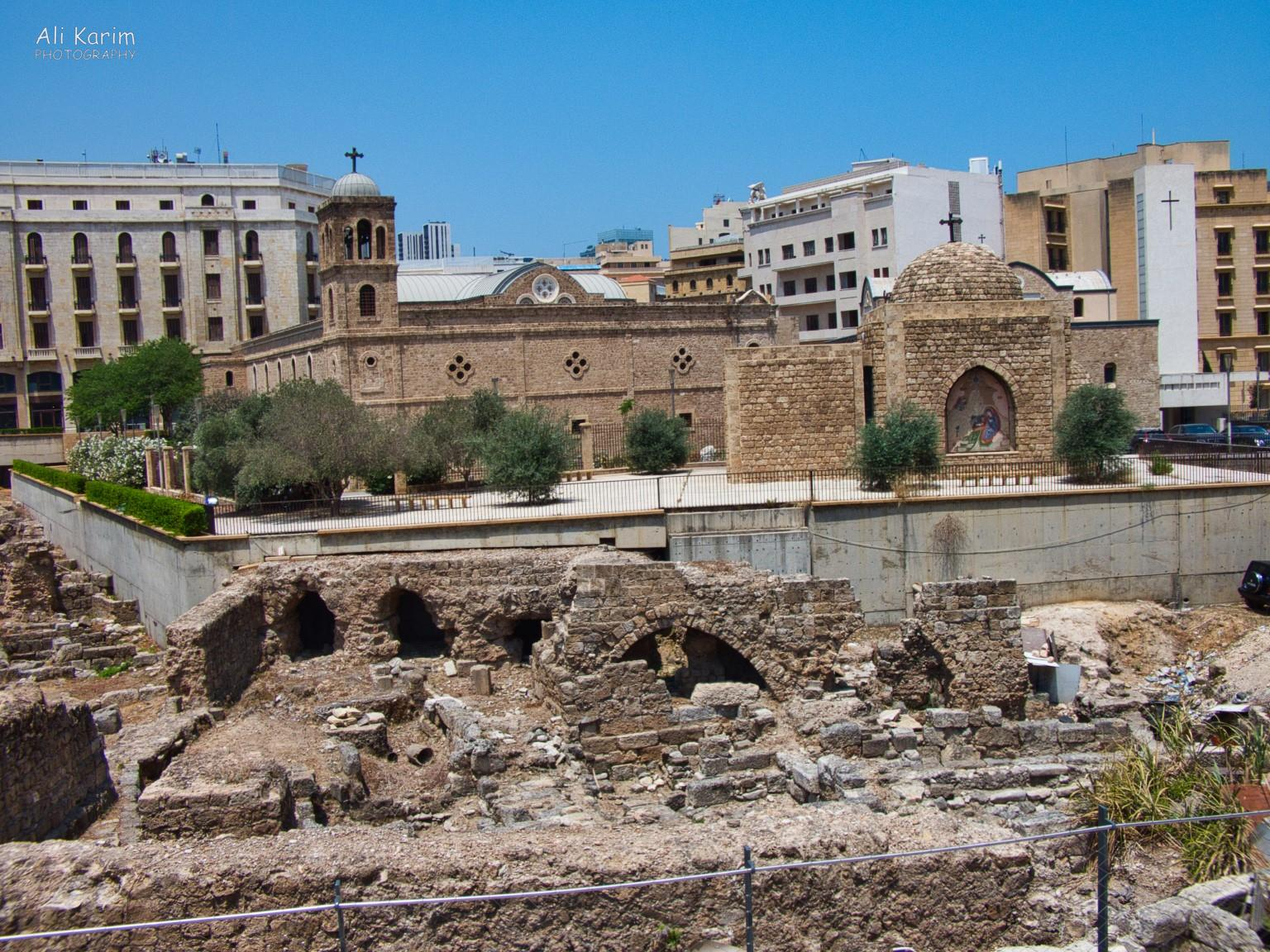Beirut Roman ruins discovered, next to the Mohammed Al-Amin mosque, behind a Greek Orthodox church