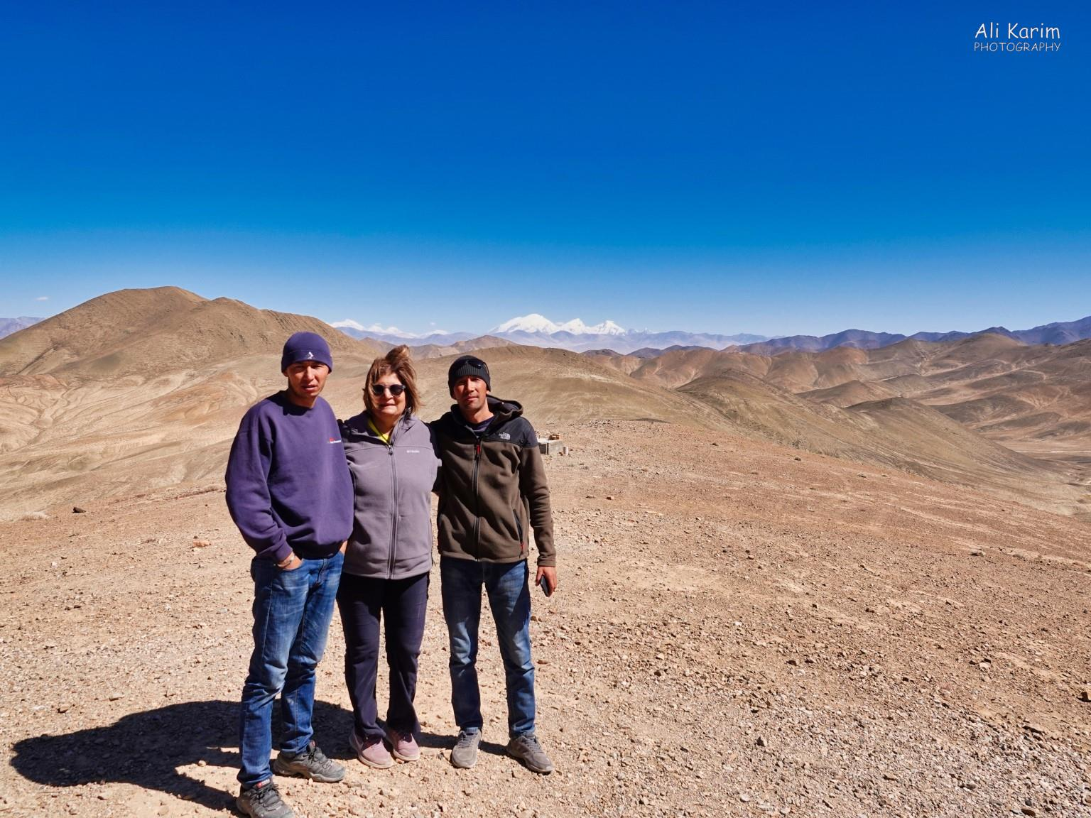 More Murghab & Alichur, Tajikistan, At Shorbulak Soviet Observatory with Sherali and Ahmadali. 14,100ft, so it was cool, but no snow. The white peaks in the background are in Xinjiang, China