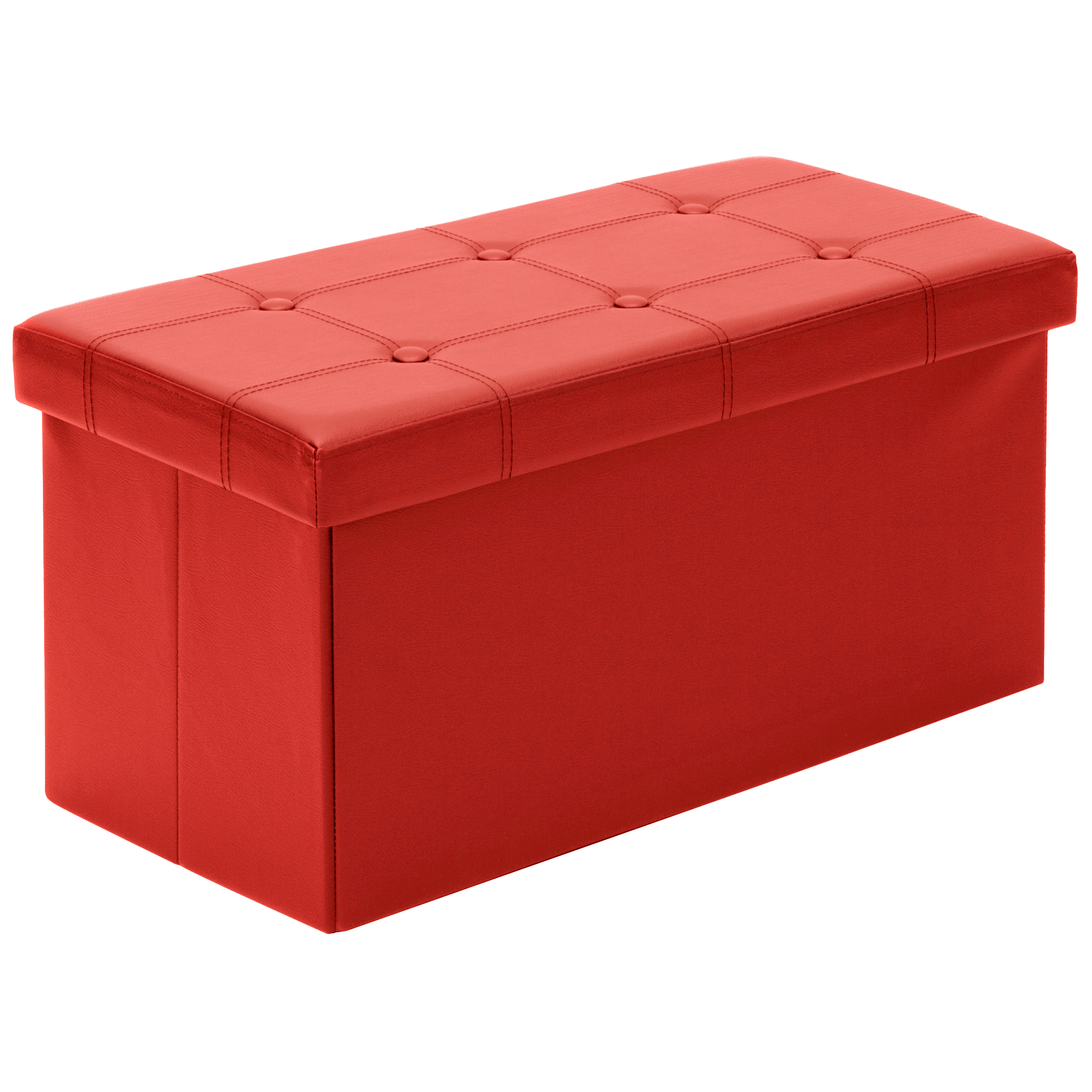 Best Choice Products Large Leather Folding Storage Ottoman Bench Red Ebay