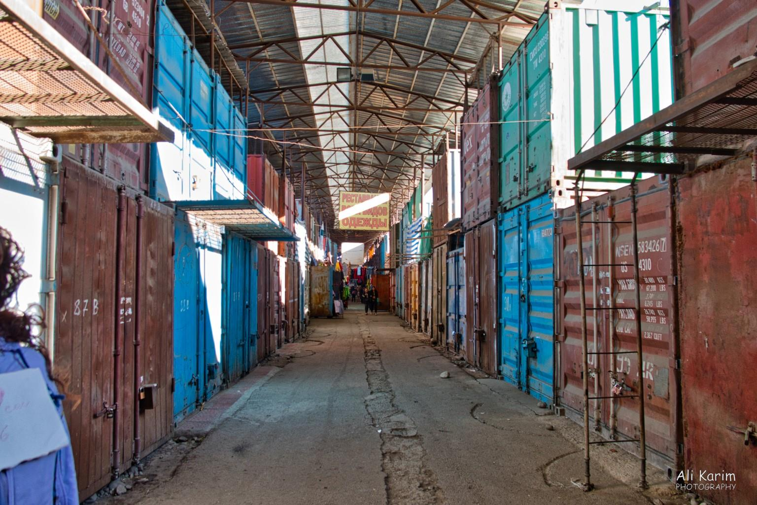Silk Road 14 Bishkek Double stacked container stalls of the market, waiting to open for trade