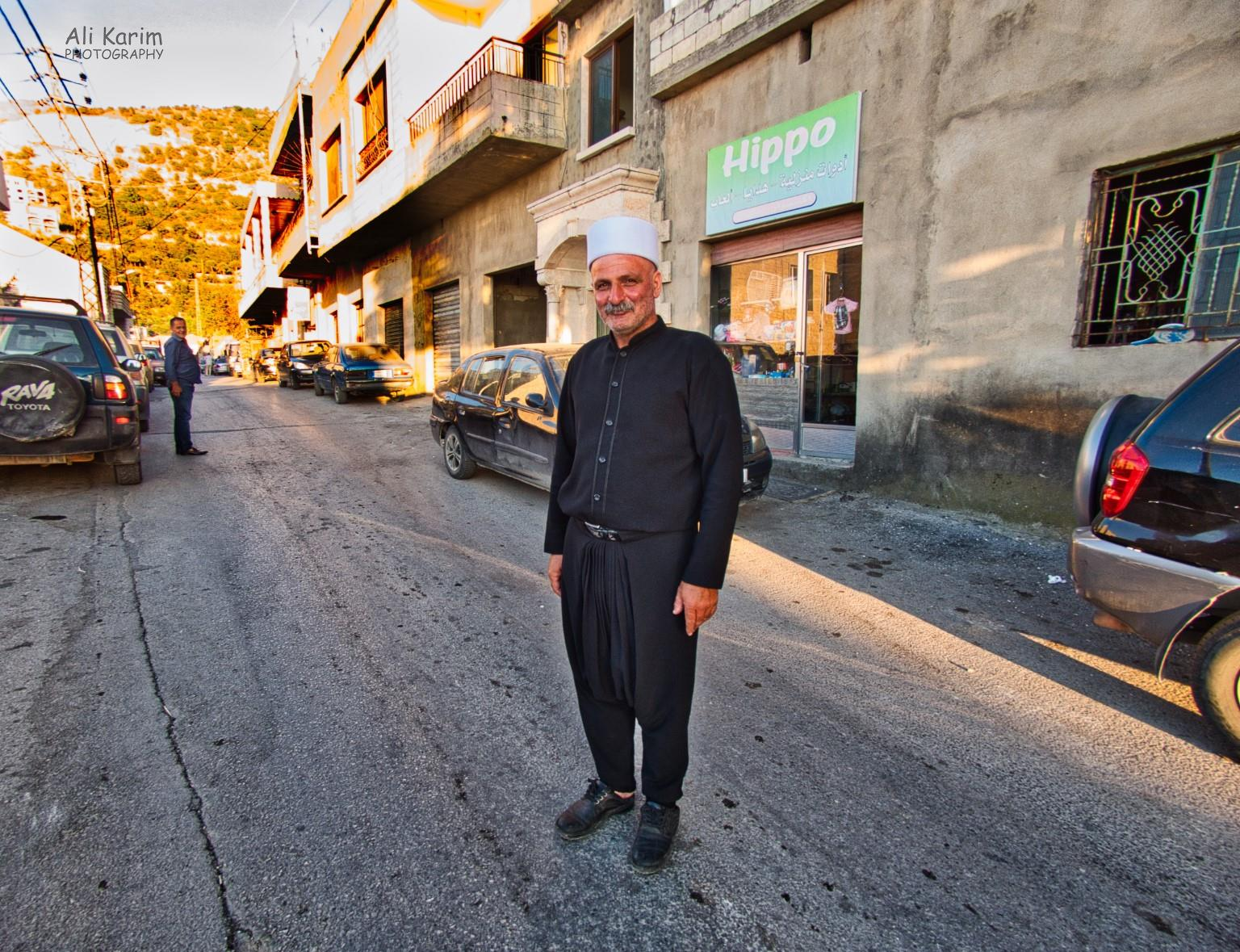 Bekaa Valley Winery, Chouf Mountains & the Druze Friendly gentleman, traditionally dressed in black harem pants, shirt and white hat; who guided us away from the Druze mosque