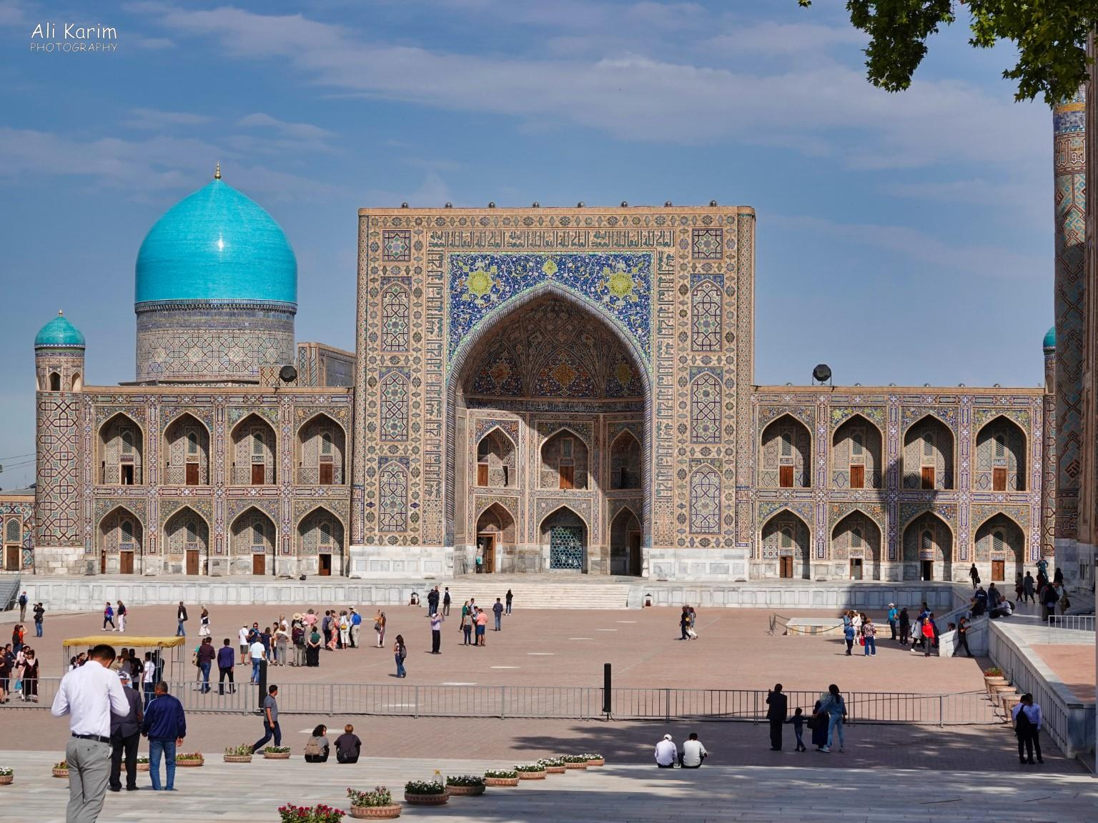 More Samarkand, View of one of the 3 madrassas in the Registan, beautiful Tilya-Kori Madrasah, which was a place of student residences as well as a Grand Mosque