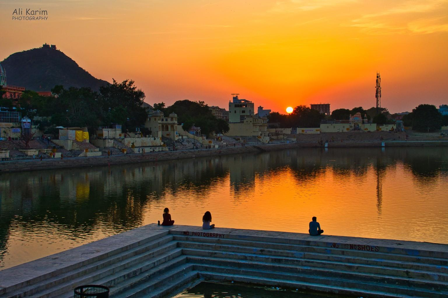 Pushkar, Rajasthan Sunset over Lake Pushkar. Note the Savitri temple on the hilltop. Goddess Savitri was the wife of Lord Brahma