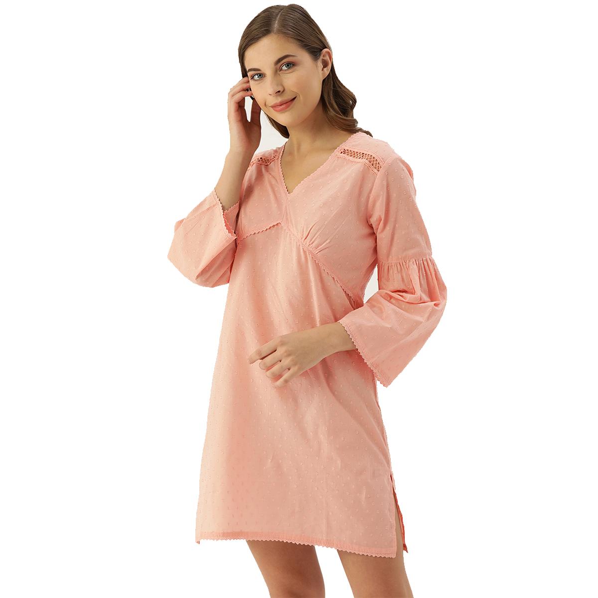 Slumber Jill Cyril Rose Pink Dobby Self Design Bell Sleeves Night Dress