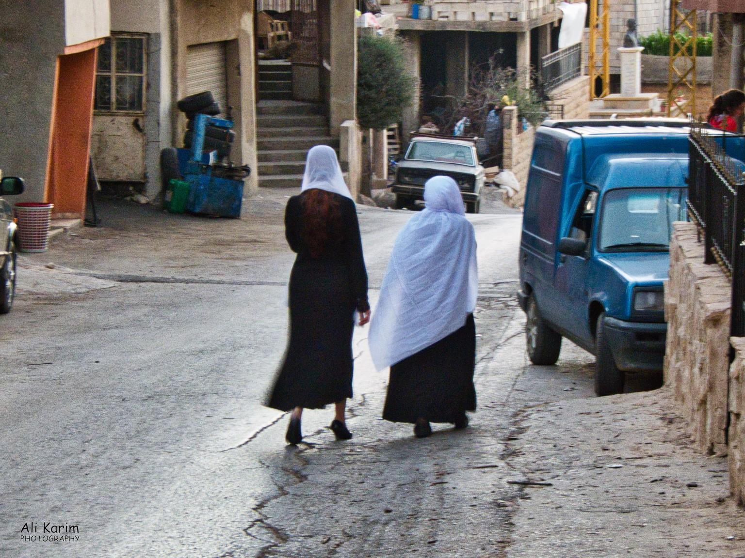 Bekaa Valley Winery, Chouf Mountains & the Druze Women were mostly dressed like this; black dress with white shawls covering their hair