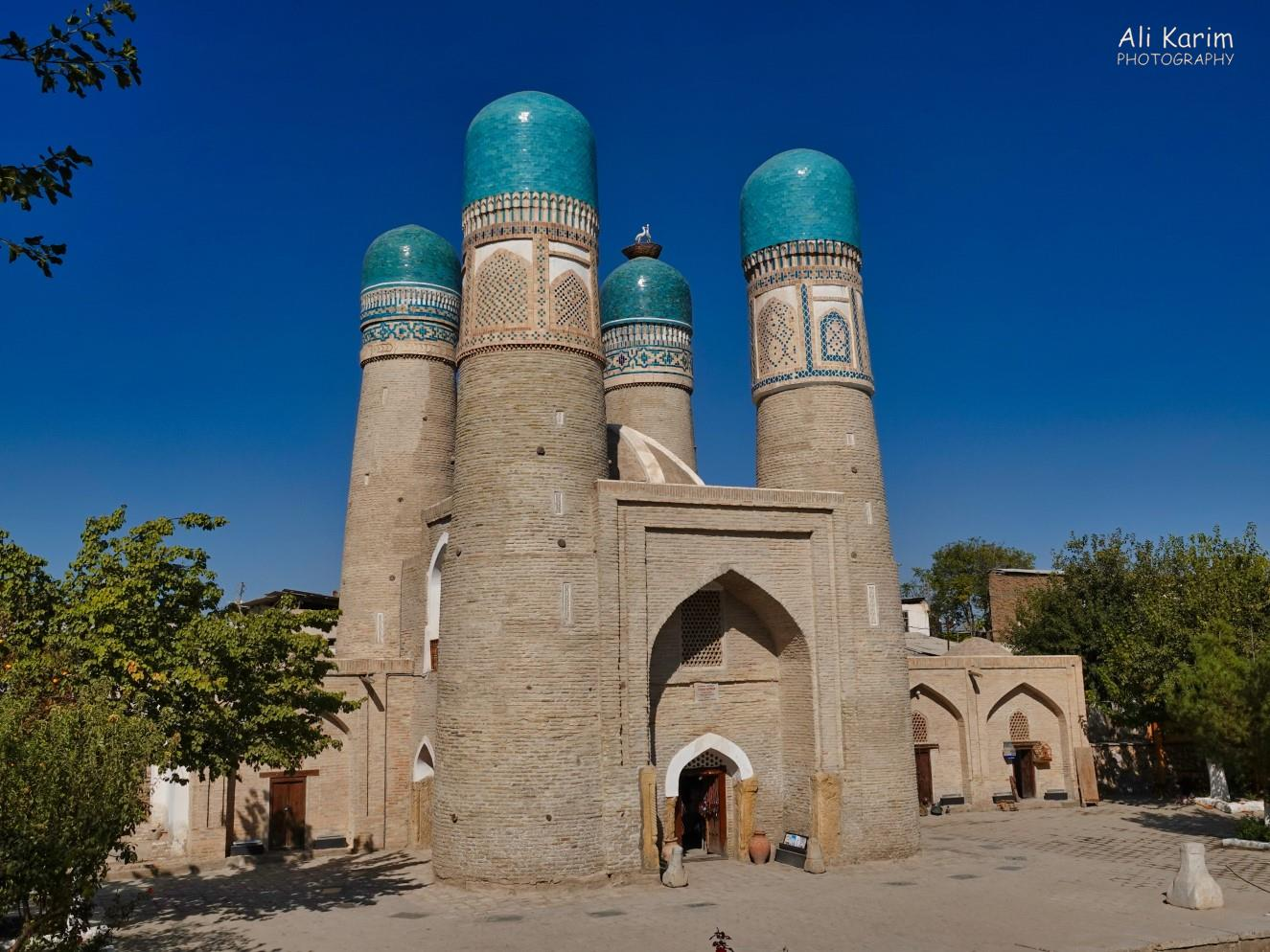 Bukhara, Oct 2019, Chor Minor ancient madrassa complex. Chor refers to the 4 minarets. Note the nesting birds on top of one minaret