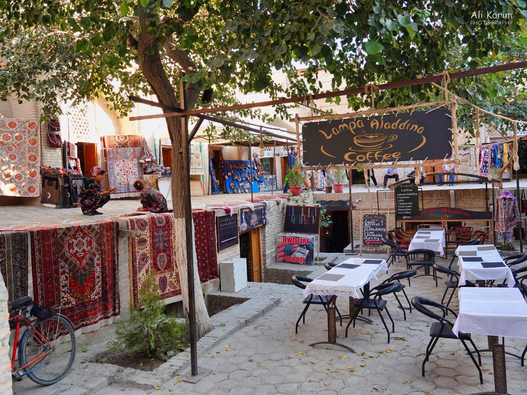 Bukhara, Oct 2019, Pleasant café & shops inside a restored Caravansarai
