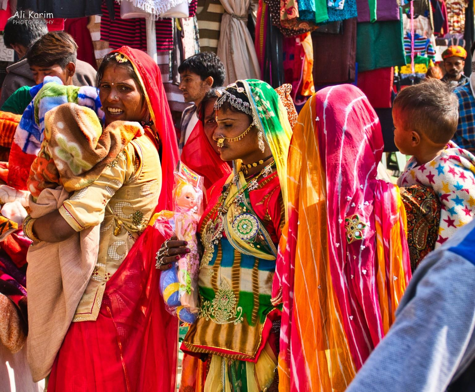 Pushkar, Rajasthan Traditionally adorned recently married woman; very colorful
