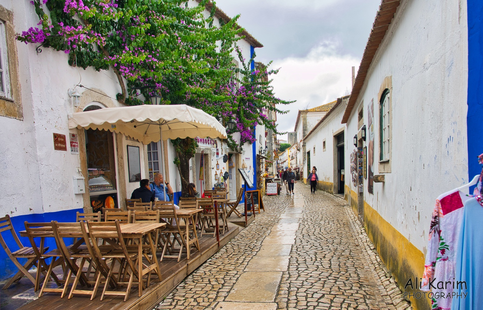 West of Lisbon Picturesque town of Obidos, streets lined with quaint little cafes and shops