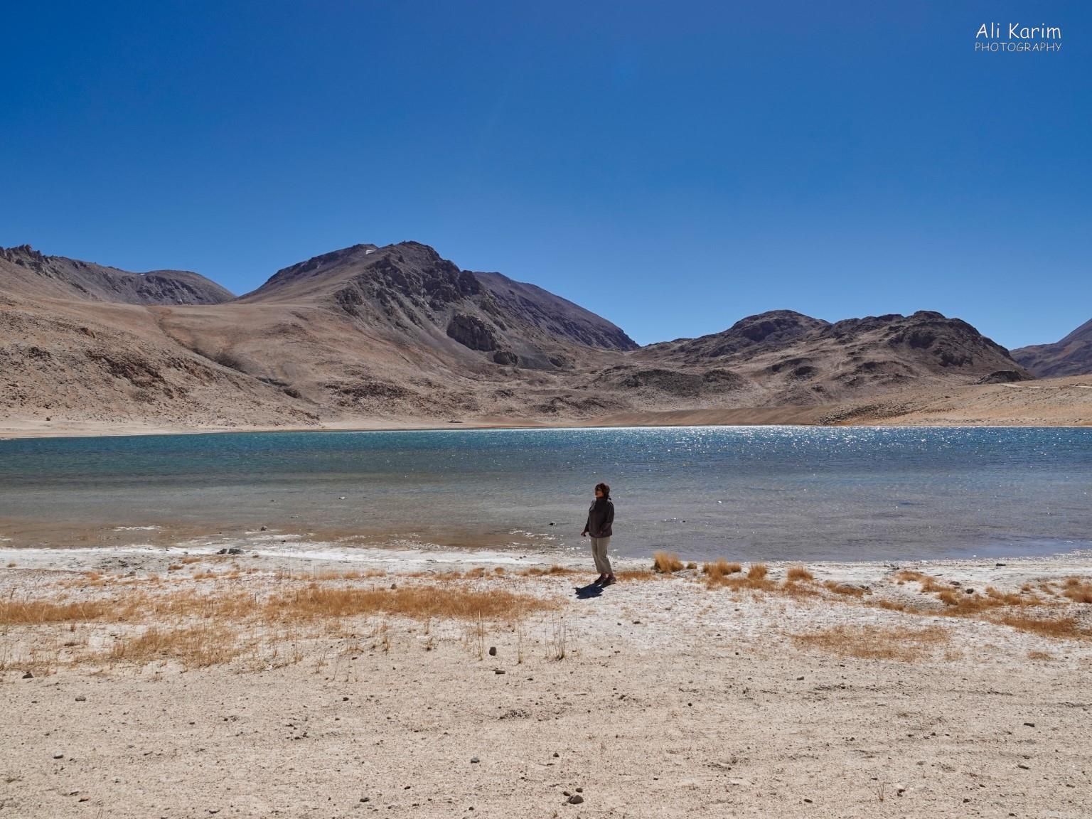 Langar, Tajikistan, Admiring the view at Chukur kul lake and stretching our legs with a short hike at 4000m (13,100ft)