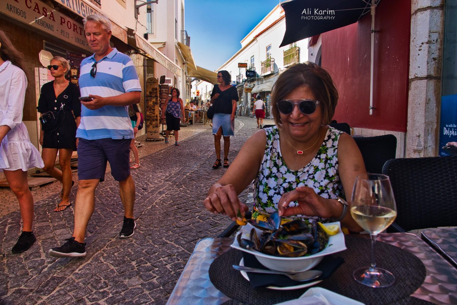 Algarve, Portugal Street Dining; fresh seafood was delicious and available everywhere