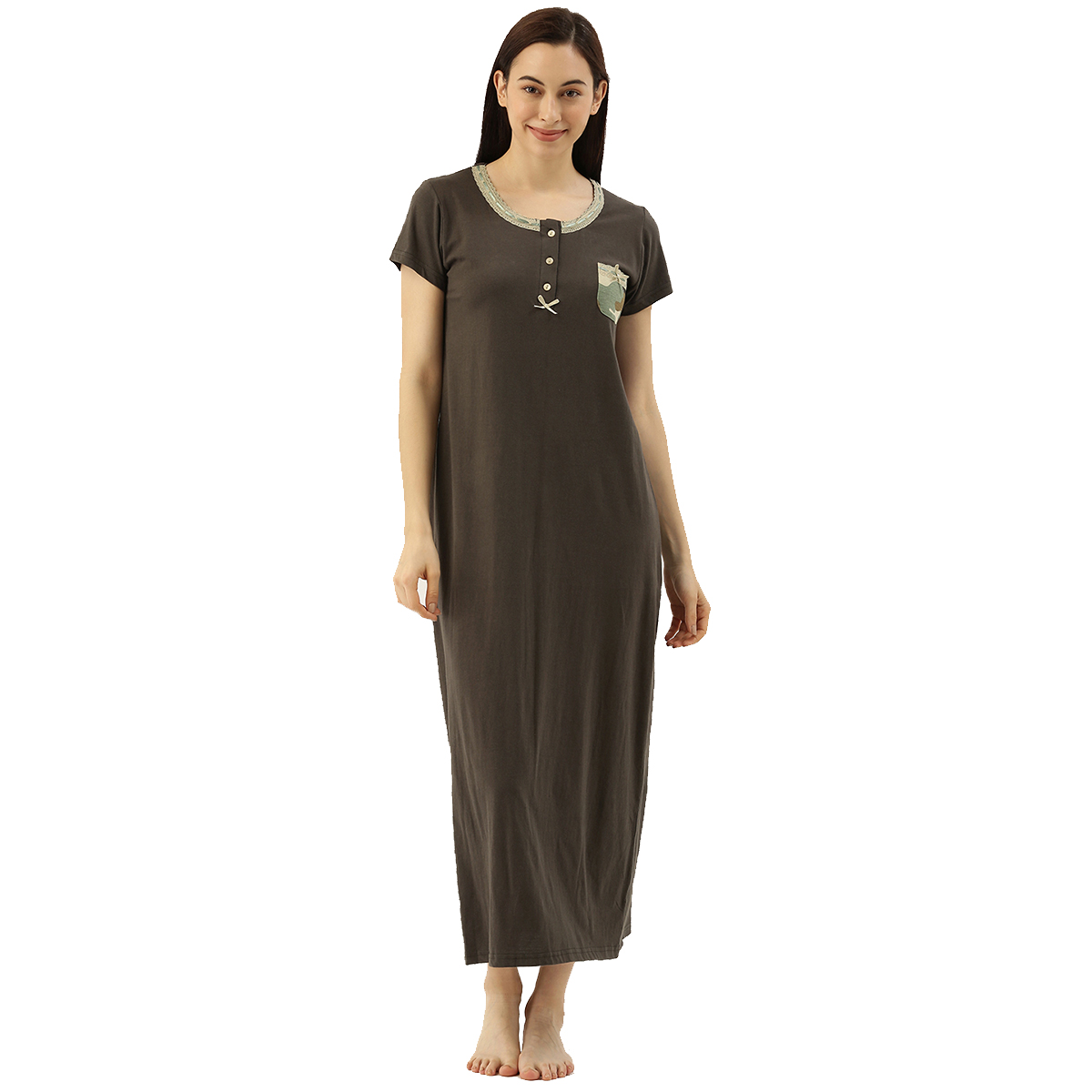Slumber Jill Kaki Camo Pocket Night Dress