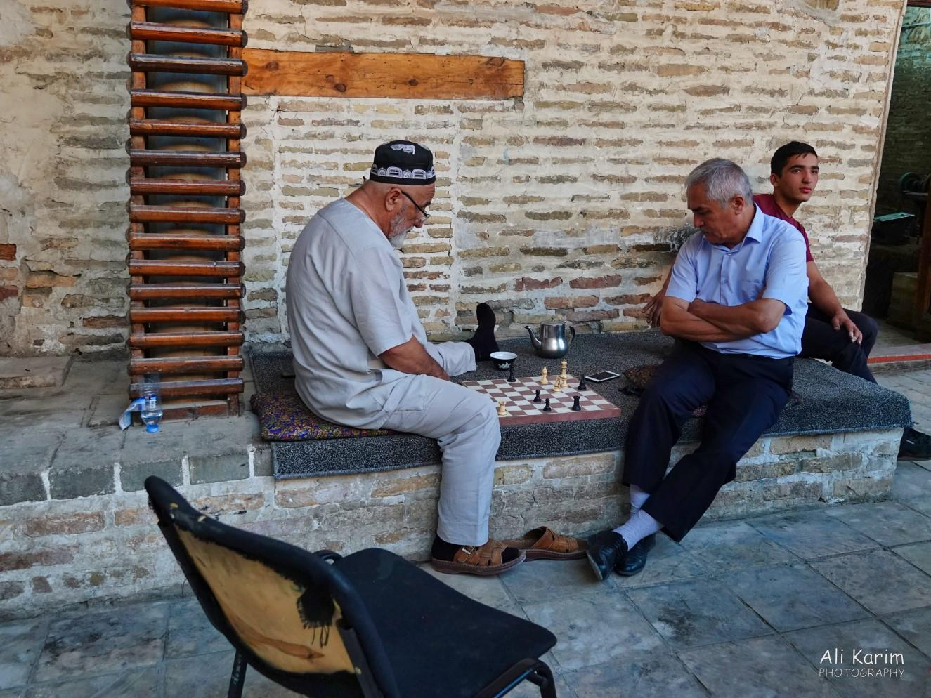 Bukhara, Oct 2019, Seniors enjoying a game of chess & tea