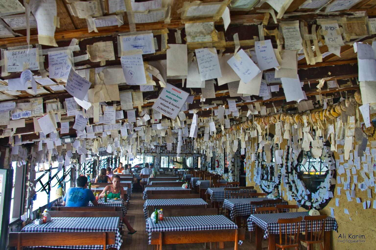 Florianópolis, Brazil Arante restaurant on the Pantano do Sul beach; with thousands of notes posted everywhere