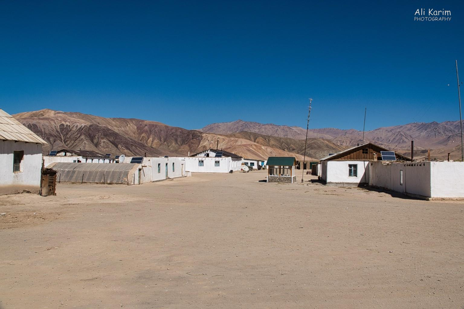 Langar, Tajikistan, The poles used to carry electricity and telephone service, but now are unused.