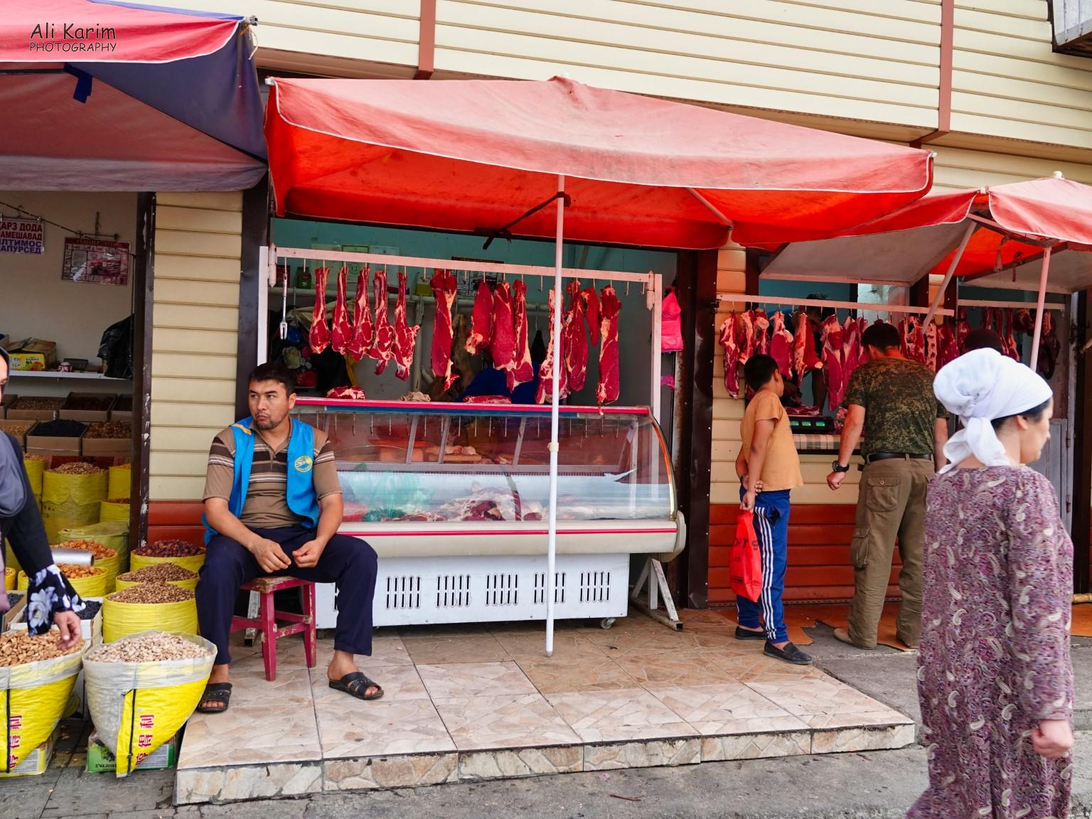 More Dushanbe, Tajikistan Meats and grains/nuts were also on sale in this clothing market