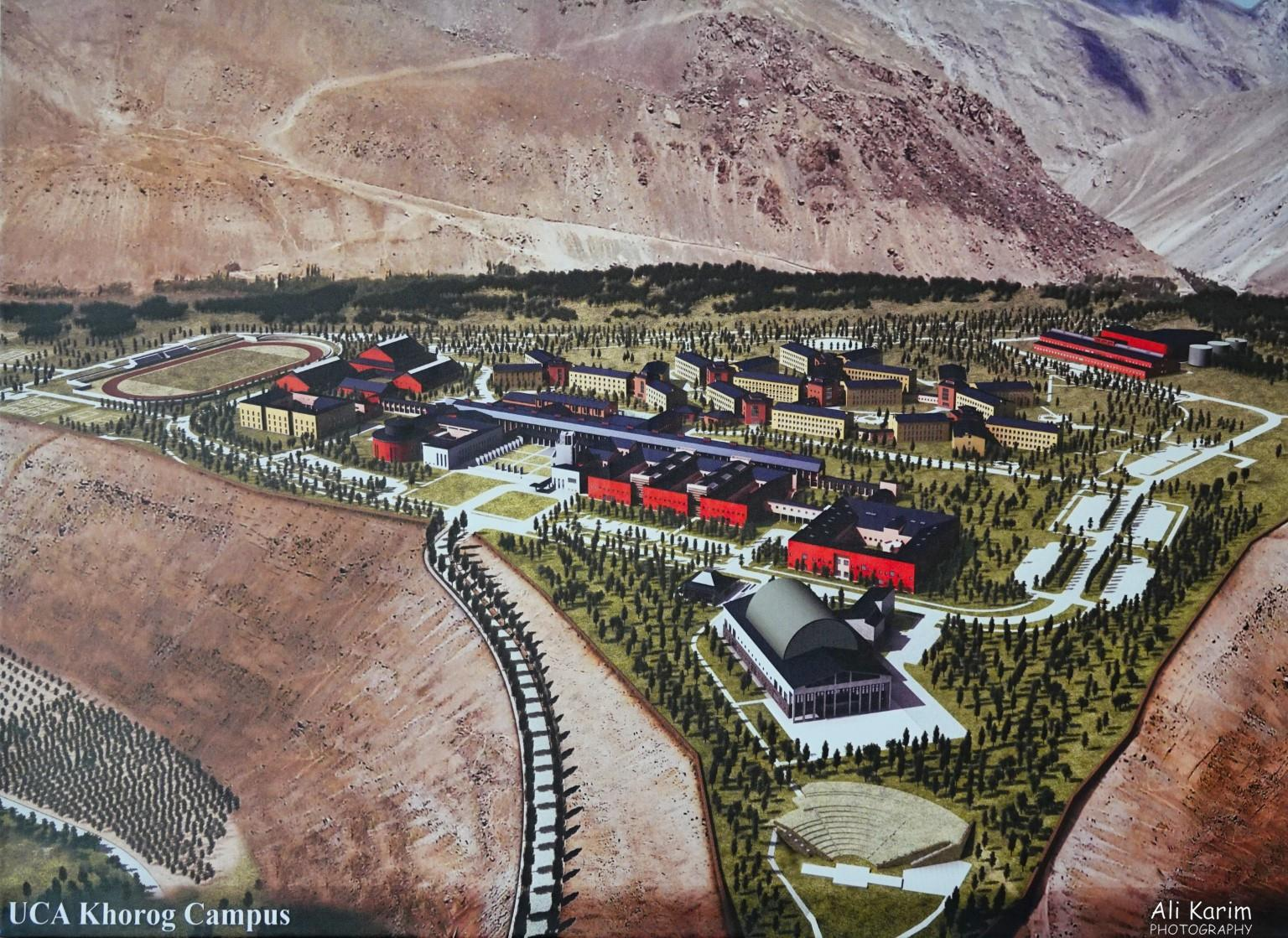 More Khorog, Tajikistan Renderings of plans of the University of Central Asia Khorog Campus. Phase 1 includes only those 3-4 buildings on the far left