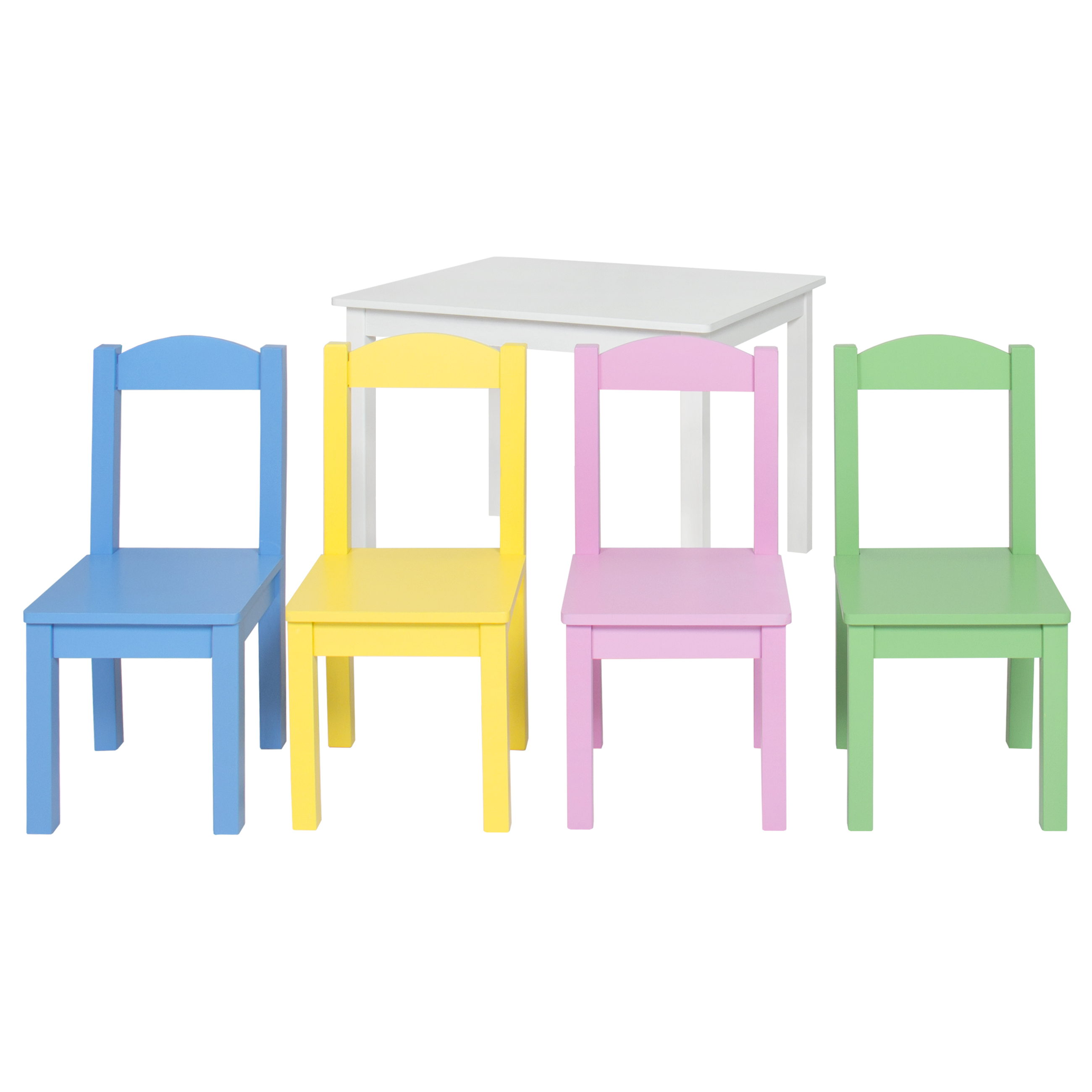 Kids wooden table and 4 chair set furniture pastel white for White kids chair