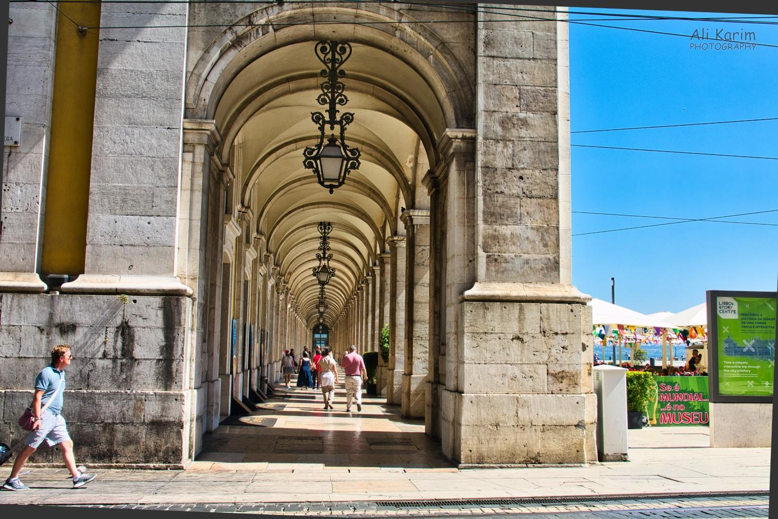Lisbon Portugal: Arches at the Praça do Comércio, a huge open square at the waterfront