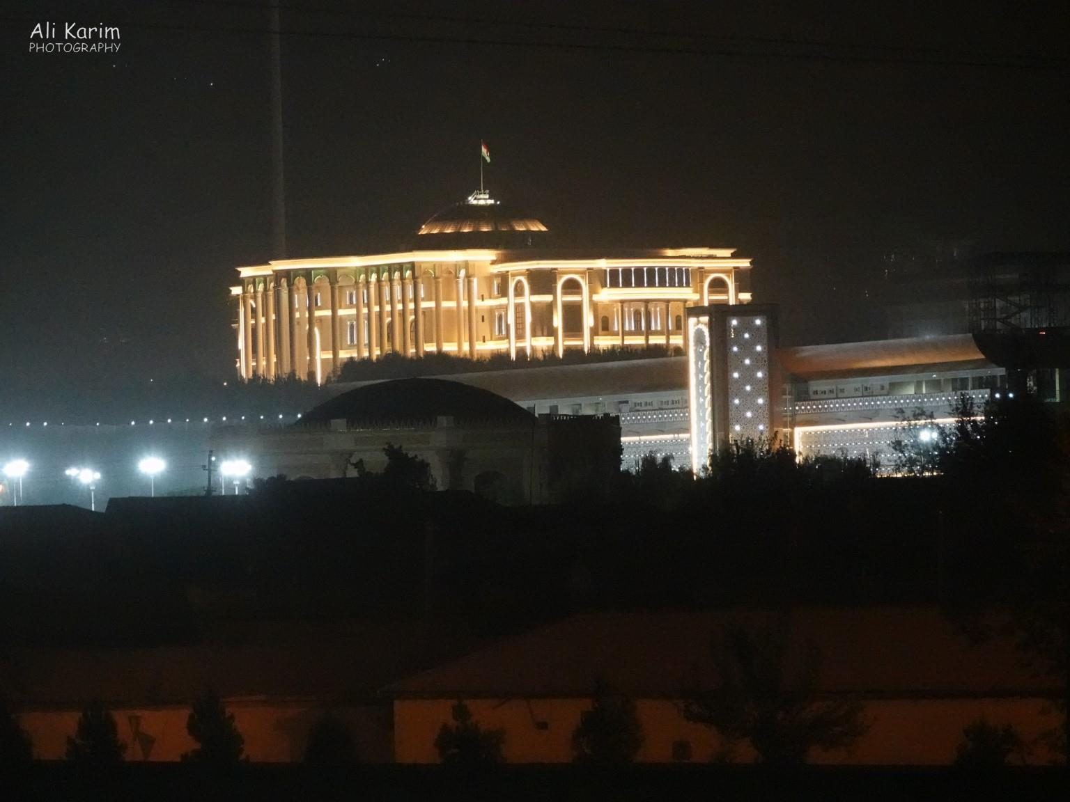 Dushanbe, Tajikistan The Presidential palace at night, that we were not supposed to photograph. Many buildings in the city were similarly nicely lit up at night